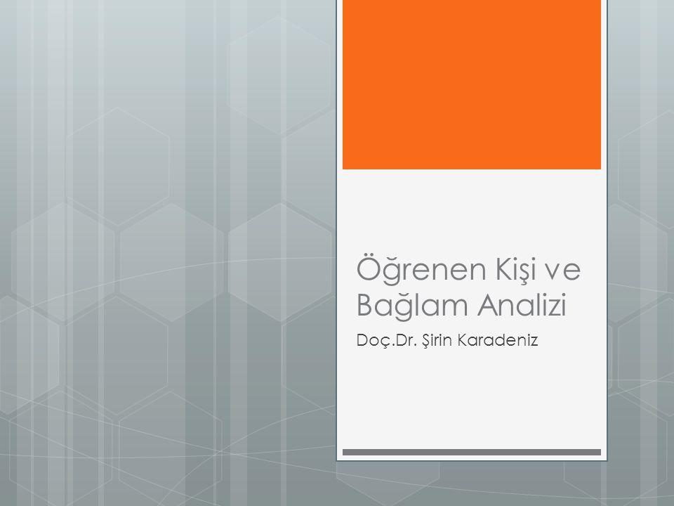Öğrenen Kişi ve Bağlam Analizi Doç.Dr. Şirin Karadeniz