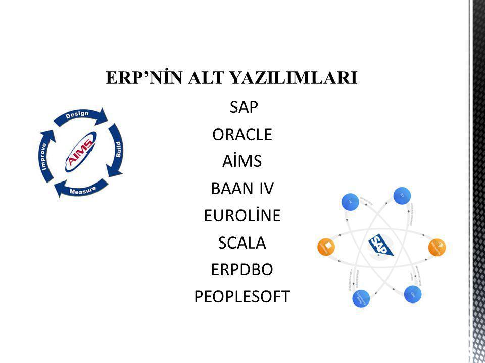 ERP'NİN ALT YAZILIMLARI SAP ORACLE AİMS BAAN IV EUROLİNE SCALA ERPDBO PEOPLESOFT