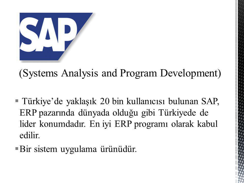 (Systems Analysis and Program Development)  Türkiye'de yaklaşık 20 bin kullanıcısı bulunan SAP, ERP pazarında dünyada olduğu gibi Türkiyede de lider