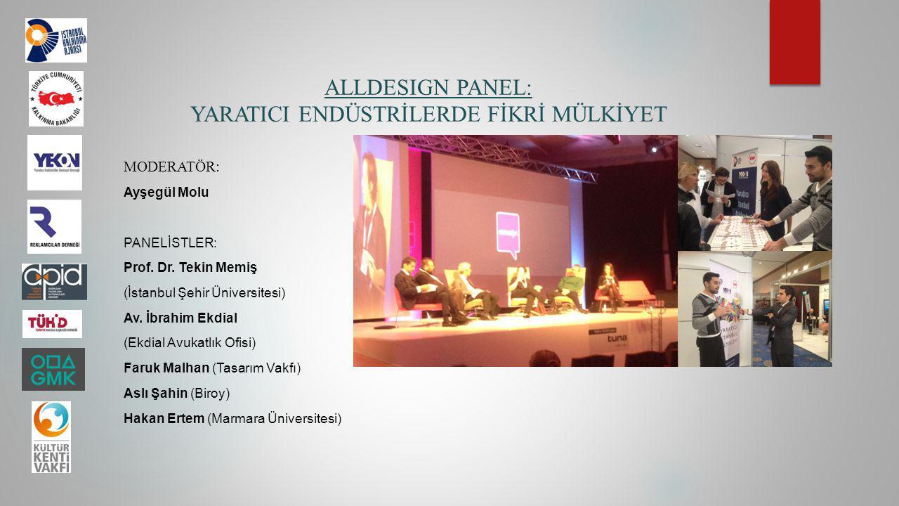 ALLDESIGN PANEL: YARATICI ENDÜSTRİLERDE FİKRİ MÜLKİYET MODERATÖR: Ayşegül Molu PANELİSTLER: Prof. Dr. Tekin Memiş (İstanbul Şehir Üniversitesi) Av. İb