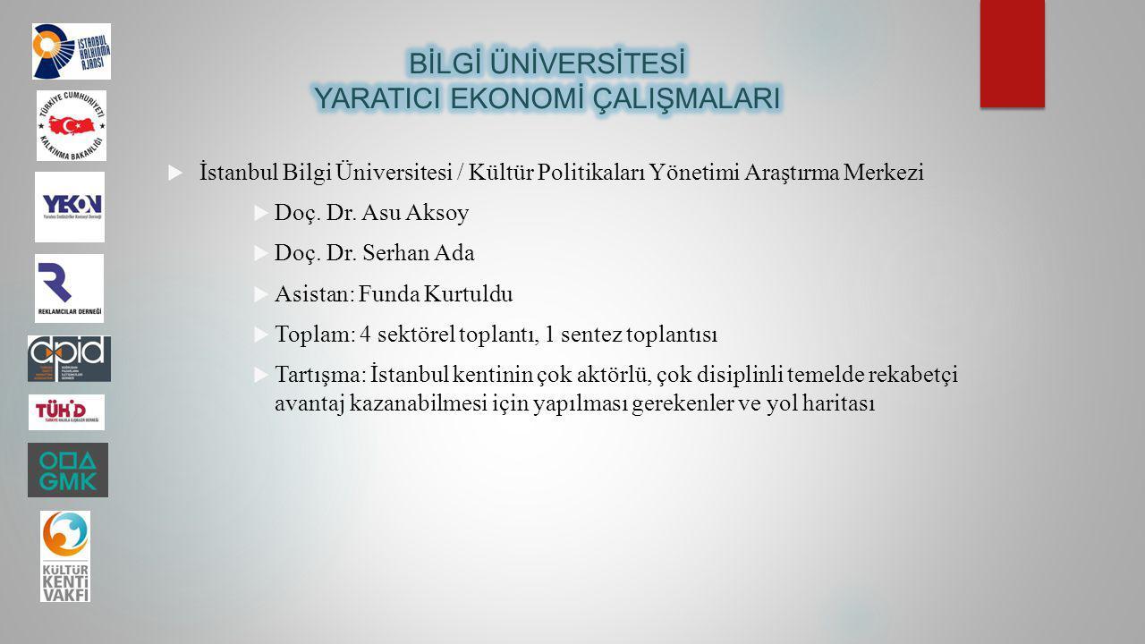  İstanbul Bilgi Üniversitesi / Kültür Politikaları Yönetimi Araştırma Merkezi  Doç. Dr. Asu Aksoy  Doç. Dr. Serhan Ada  Asistan: Funda Kurtuldu 