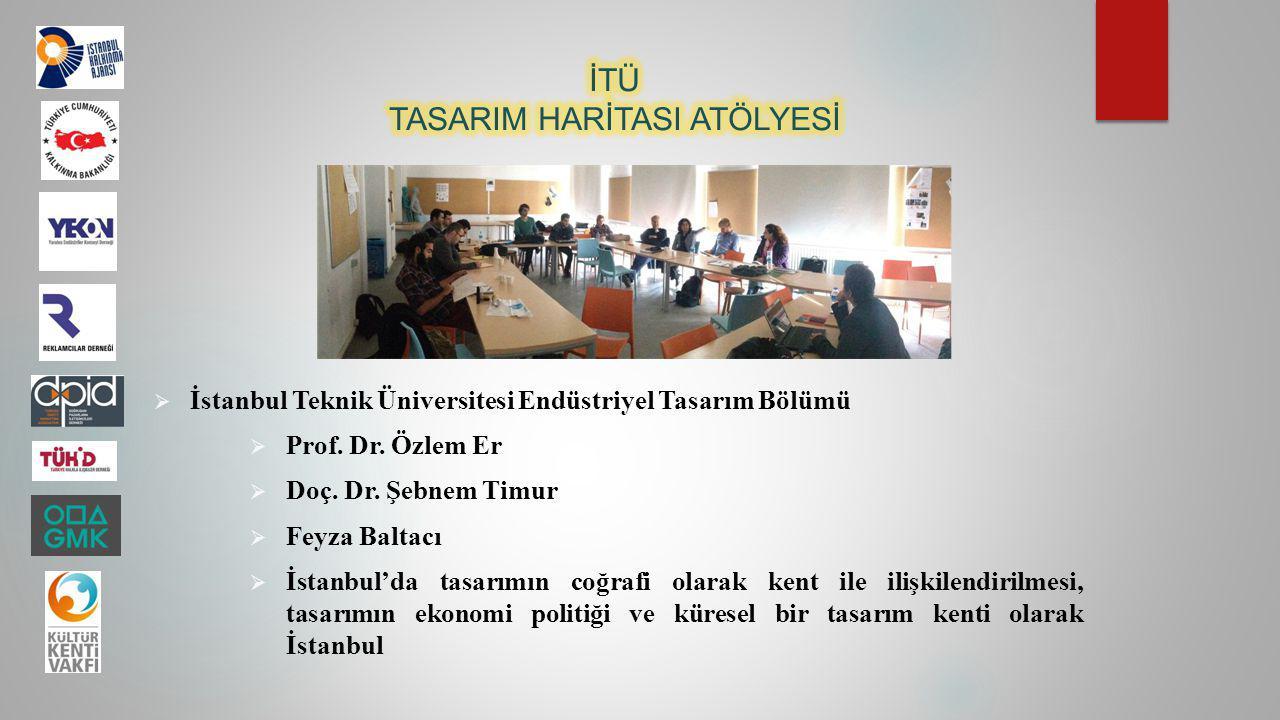  İstanbul Teknik Üniversitesi Endüstriyel Tasarım Bölümü  Prof. Dr. Özlem Er  Doç. Dr. Şebnem Timur  Feyza Baltacı  İstanbul'da tasarımın coğrafi
