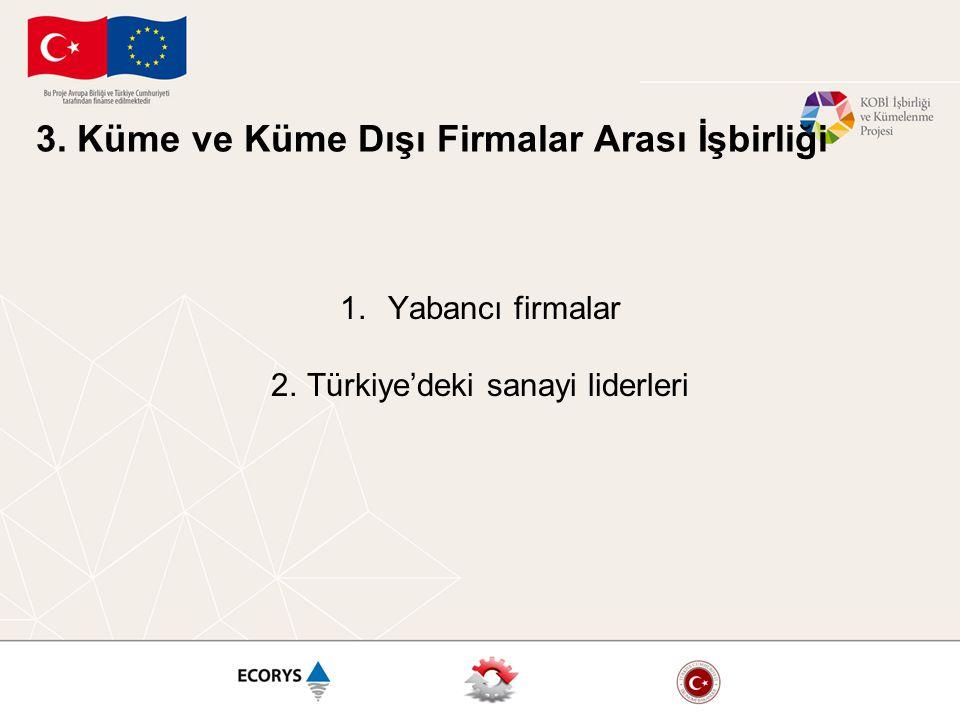 3. Küme ve Küme Dışı Firmalar Arası İşbirliği 1.Yabancı firmalar 2.Türkiye'deki sanayi liderleri