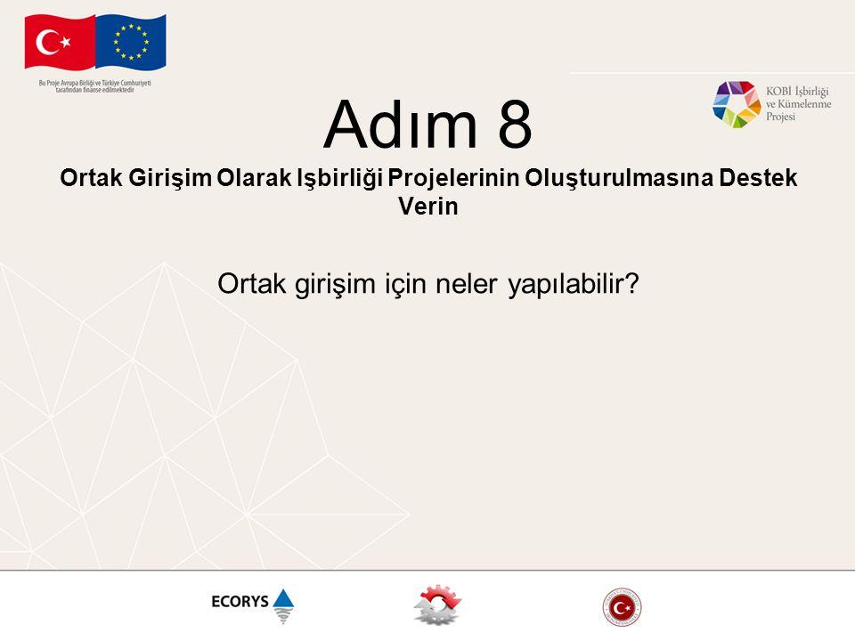 Adım 8 Ortak Girişim Olarak Işbirliği Projelerinin Oluşturulmasına Destek Verin Ortak girişim için neler yapılabilir?