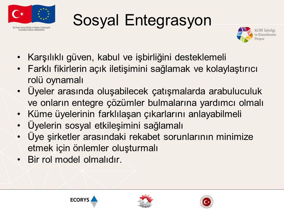 Sosyal Entegrasyon Karşılıklı güven, kabul ve işbirliğini desteklemeli Farklı fikirlerin açık iletişimini sağlamak ve kolaylaştırıcı rolü oynamalı Üye