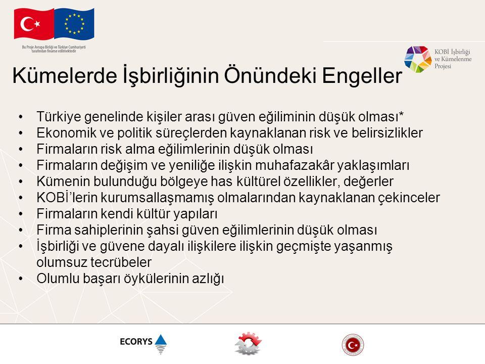 Kümelerde İşbirliğinin Önündeki Engeller Türkiye genelinde kişiler arası güven eğiliminin düşük olması* Ekonomik ve politik süreçlerden kaynaklanan ri
