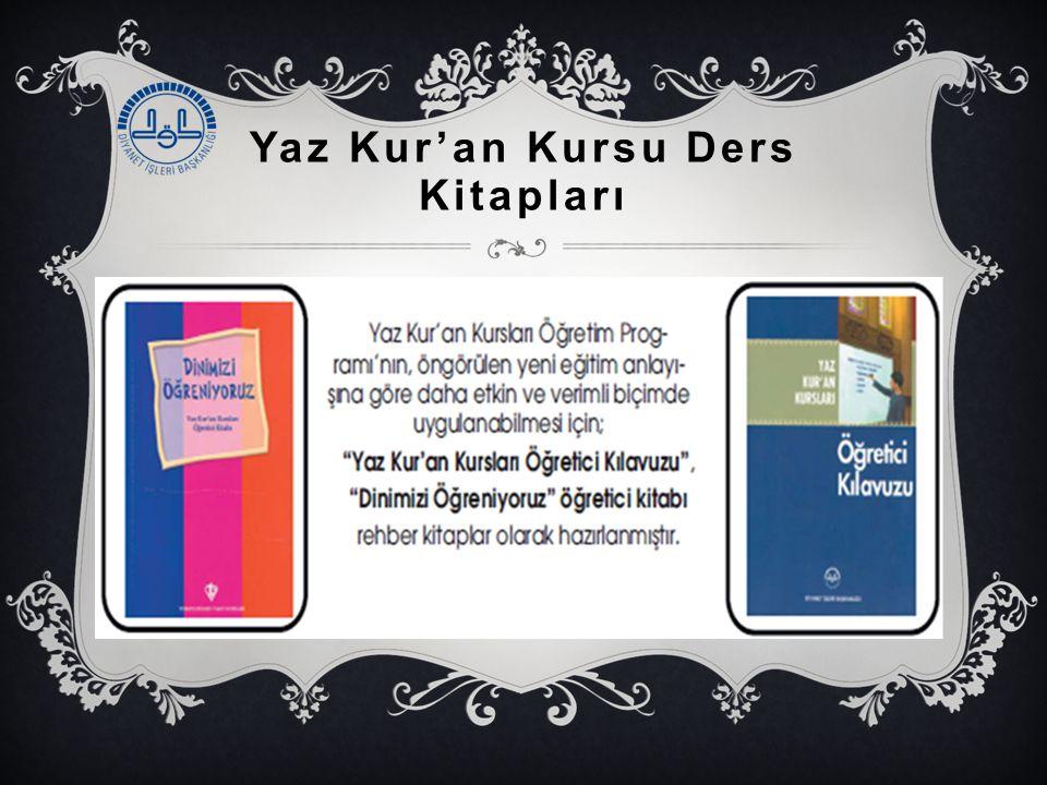 Yaz Kur'an Kursu Ders Kitapları 1.Yaz Kur'an Kursları Öğretici Kılavuzu 2.Dinimizi Öğreniyoruz: Yaz Kur'an Kursları Öğretici Kitabı
