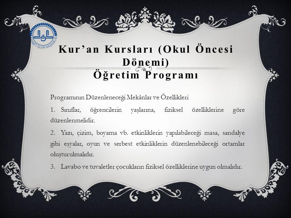 Kur'an Kursları (Okul Öncesi Dönemi) Öğretim Programı Programının Düzenleneceği Mekânlar ve Özellikleri 1.Sınıflar, öğrencilerin yaşlarına, fiziksel özelliklerine göre düzenlenmelidir.