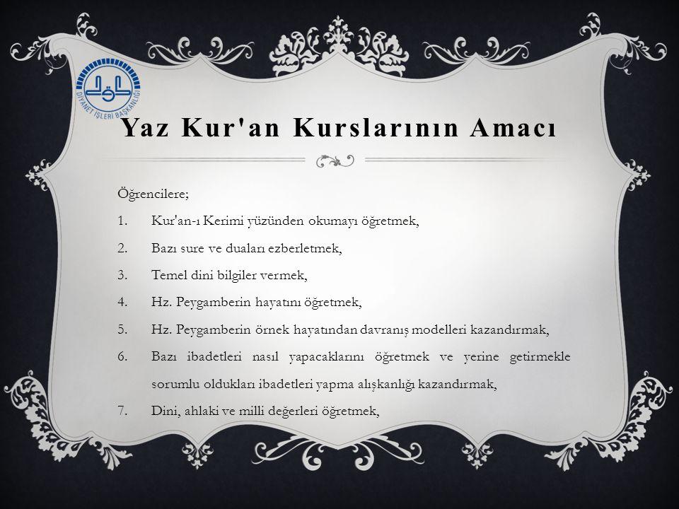 Yaz Kur'an Kurslarının Amacı Öğrencilere; 1.Kur'an-ı Kerimi yüzünden okumayı öğretmek, 2.Bazı sure ve duaları ezberletmek, 3.Temel dini bilgiler verme