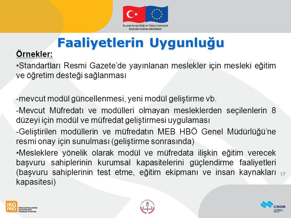 Örnekler: Standartları Resmi Gazete'de yayınlanan meslekler için mesleki eğitim ve öğretim desteği sağlanması -mevcut modül güncellenmesi, yeni modül