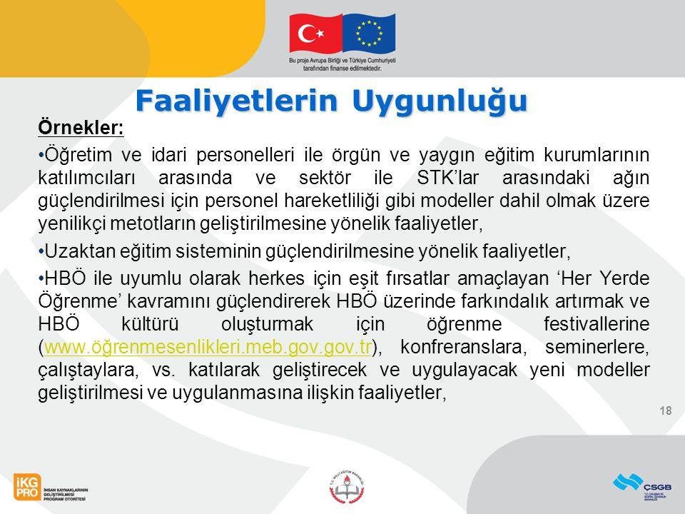 Örnekler: Öğretim ve idari personelleri ile örgün ve yaygın eğitim kurumlarının katılımcıları arasında ve sektör ile STK'lar arasındaki ağın güçlendir