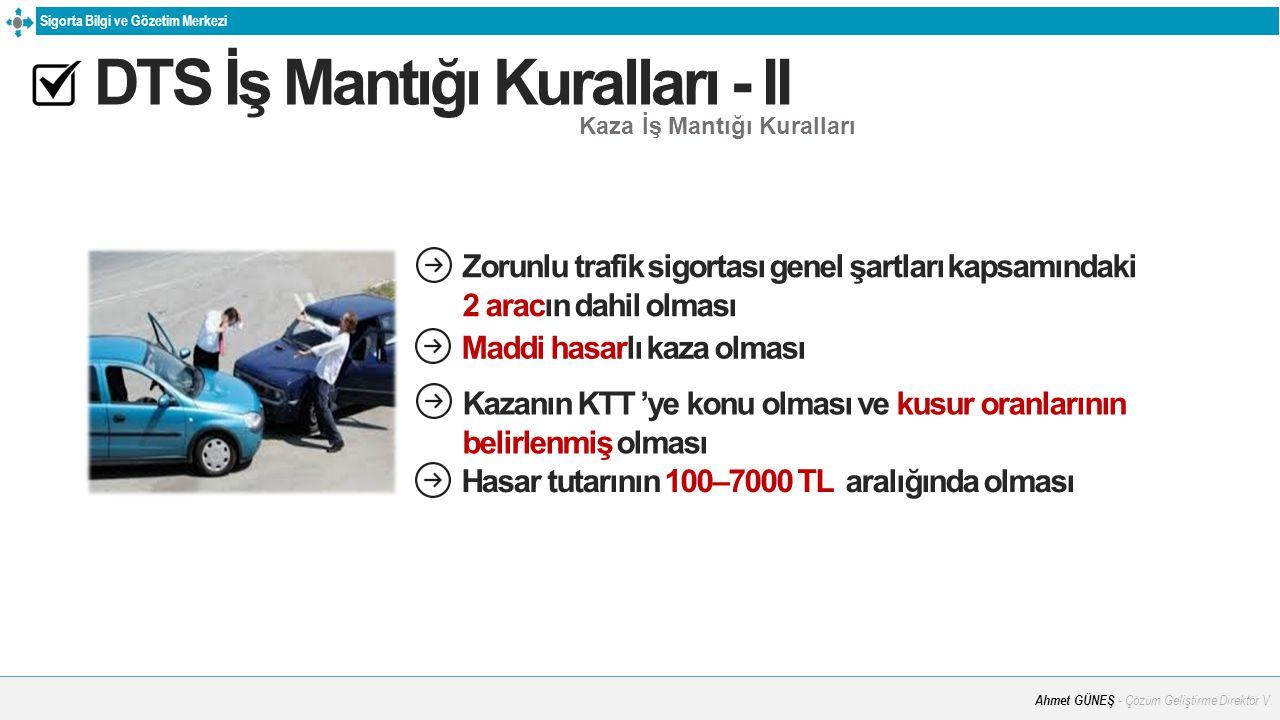Sigorta Bilgi ve Gözetim Merkezi DTS İş Mantığı Kuralları - II Kaza İş Mantığı Kuralları Sigortalı Zorunlu trafik sigortası genel şartları kapsamındak