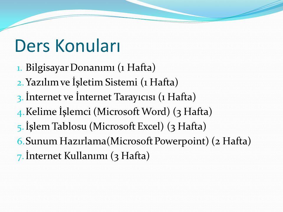 Ders Konuları 1. Bilgisayar Donanımı (1 Hafta) 2. Yazılım ve İşletim Sistemi (1 Hafta) 3. İnternet ve İnternet Tarayıcısı (1 Hafta) 4. Kelime İşlemci