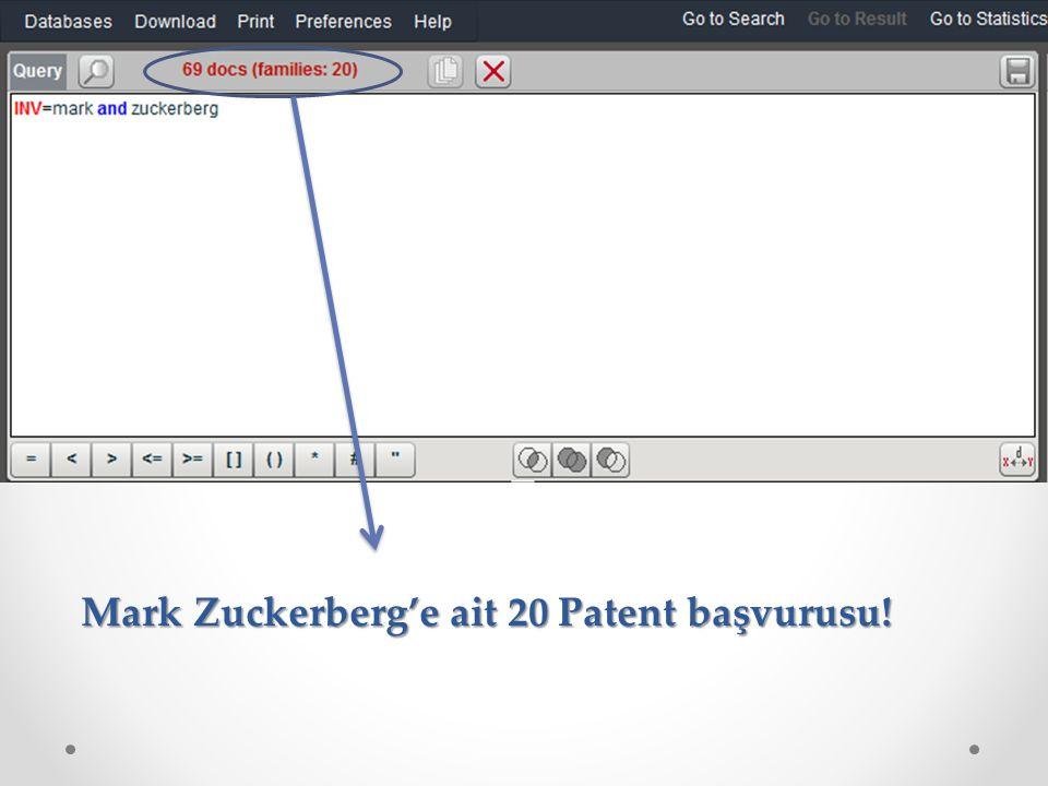 Mark Zuckerberg'e ait 20 Patent başvurusu!