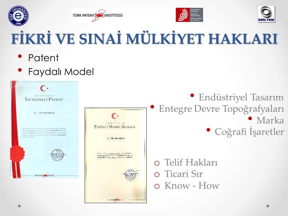 Patent Faydalı Model FİKRİ VE SINAİ MÜLKİYET HAKLARI Endüstriyel Tasarım Entegre Devre Topoğrafyaları Marka Coğrafi İşaretler o Telif Hakları o Ticari Sır o Know - How