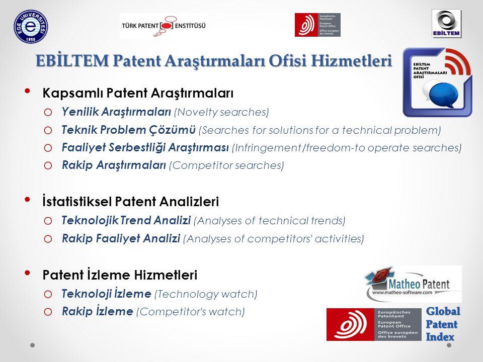 Kapsamlı Patent Araştırmaları o Yenilik Araştırmaları (Novelty searches) o Teknik Problem Çözümü (Searches for solutions for a technical problem) o Fa