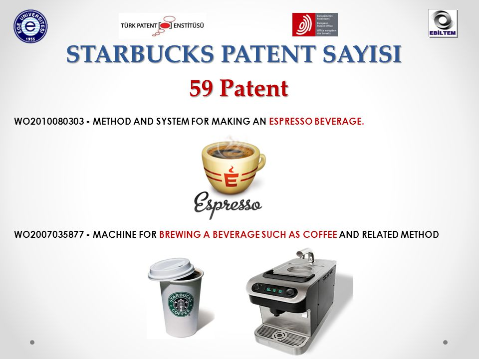 STARBUCKS PATENT SAYISI WO2010080303 - METHOD AND SYSTEM FOR MAKING AN ESPRESSO BEVERAGE.