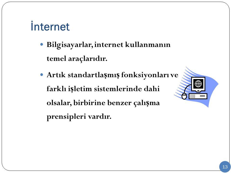 İnternet Bilgisayarlar, internet kullanmanın temel araçlarıdır. Artık standartla ş mı ş fonksiyonları ve farklı i ş letim sistemlerinde dahi olsalar,