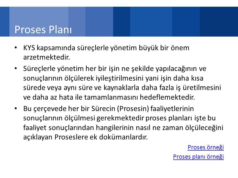 Proses Planı KYS kapsamında süreçlerle yönetim büyük bir önem arzetmektedir.