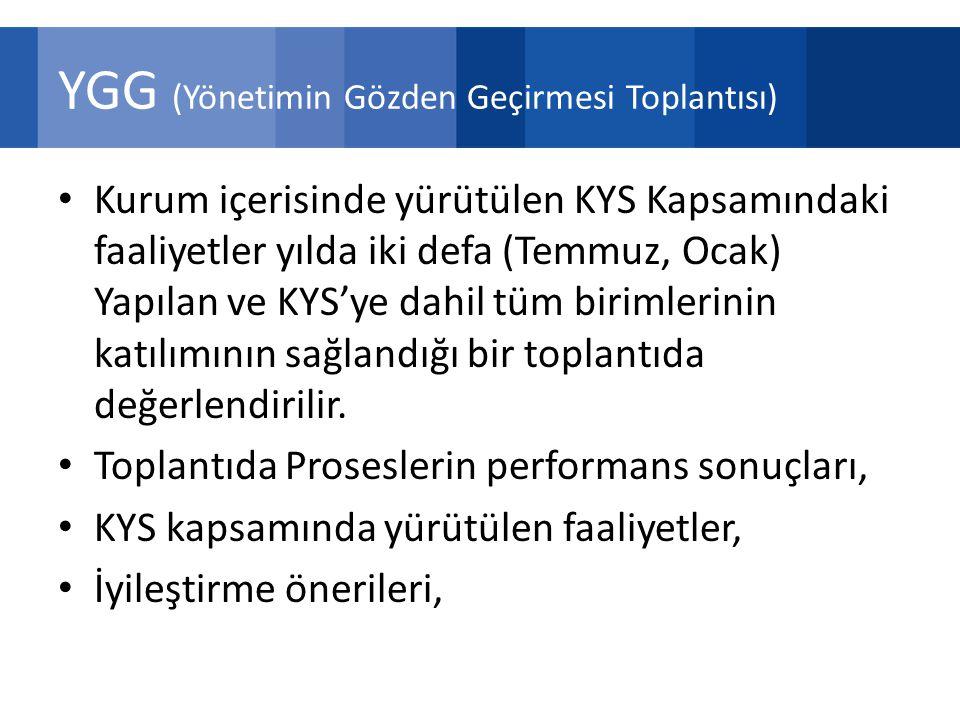 YGG (Yönetimin Gözden Geçirmesi Toplantısı) Kurum içerisinde yürütülen KYS Kapsamındaki faaliyetler yılda iki defa (Temmuz, Ocak) Yapılan ve KYS'ye dahil tüm birimlerinin katılımının sağlandığı bir toplantıda değerlendirilir.