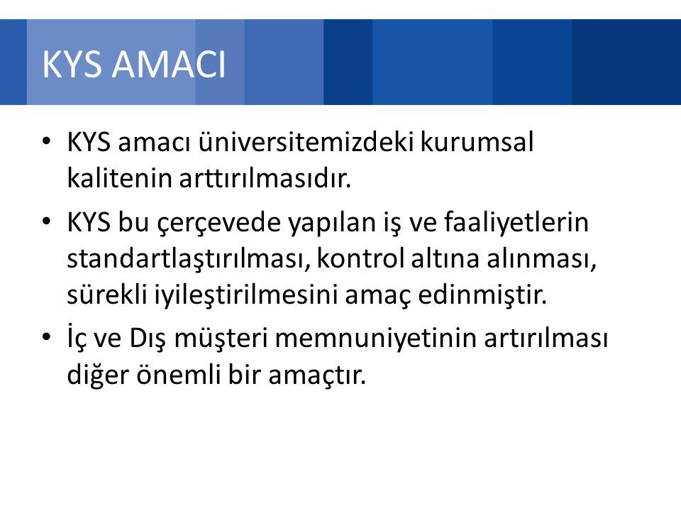 KYS AMACI KYS amacı üniversitemizdeki kurumsal kalitenin arttırılmasıdır.