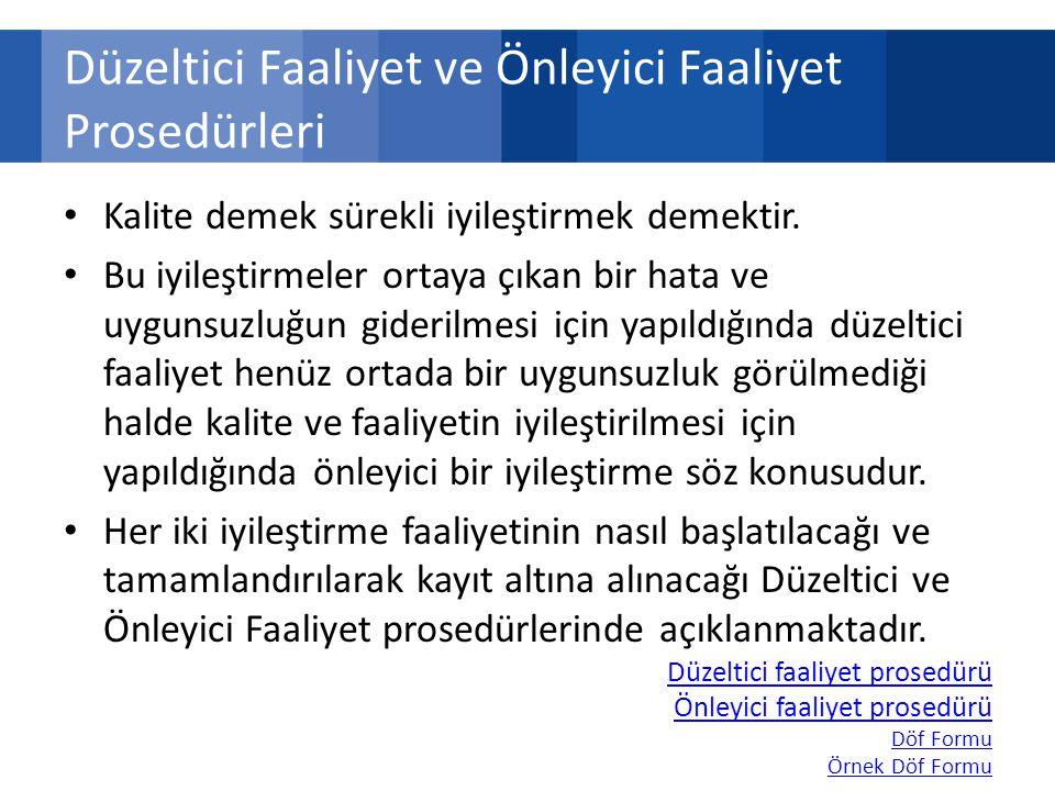 Düzeltici Faaliyet ve Önleyici Faaliyet Prosedürleri Kalite demek sürekli iyileştirmek demektir.