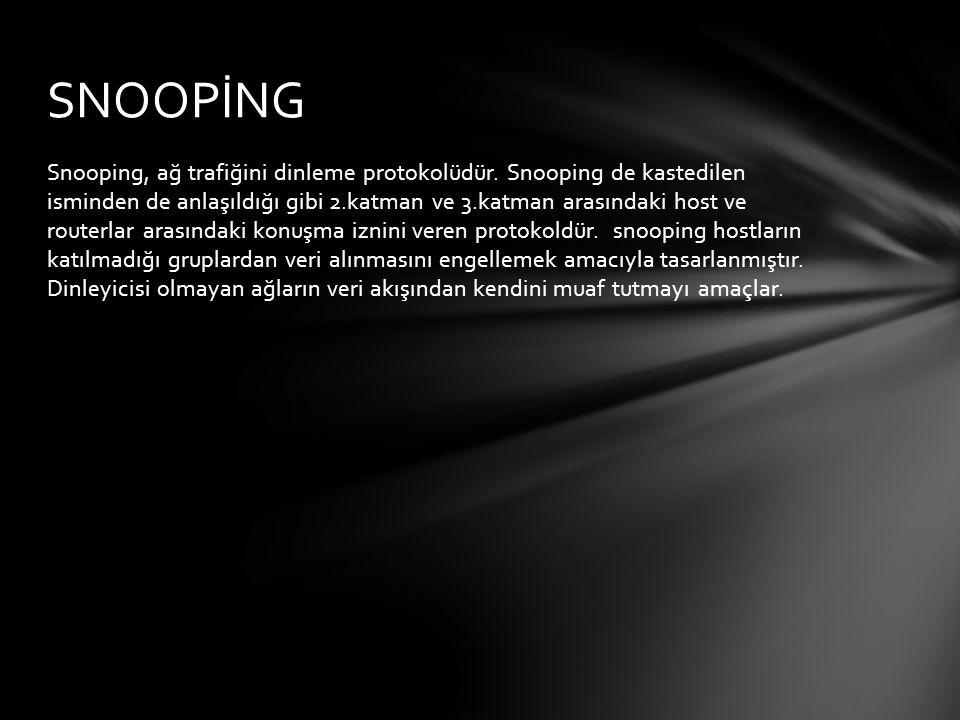 Snooping, ağ trafiğini dinleme protokolüdür. Snooping de kastedilen isminden de anlaşıldığı gibi 2.katman ve 3.katman arasındaki host ve routerlar ara