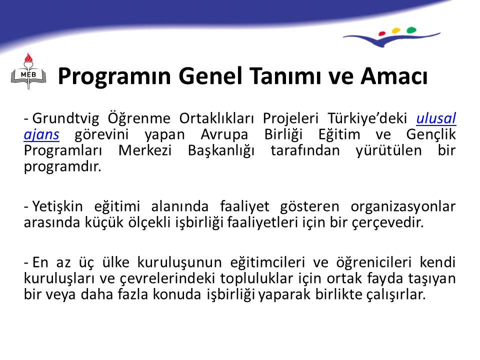 Programın Genel Tanımı ve Amacı - Grundtvig Öğrenme Ortaklıkları Projeleri Türkiye'deki ulusal ajans görevini yapan Avrupa Birliği Eğitim ve Gençlik Programları Merkezi Başkanlığı tarafından yürütülen bir programdır.ulusal ajans - Yetişkin eğitimi alanında faaliyet gösteren organizasyonlar arasında küçük ölçekli işbirliği faaliyetleri için bir çerçevedir.