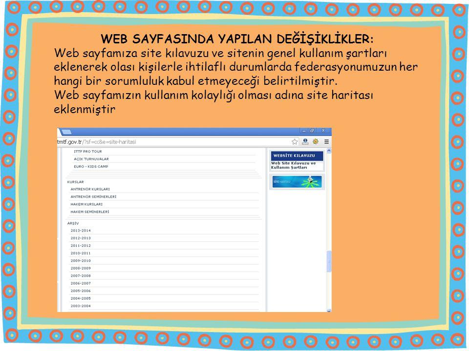 WEB SAYFASINDA YAPILAN DEĞİŞİKLİKLER: Web sayfamıza site kılavuzu ve sitenin genel kullanım şartları eklenerek olası kişilerle ihtilaflı durumlarda federasyonumuzun her hangi bir sorumluluk kabul etmeyeceği belirtilmiştir.