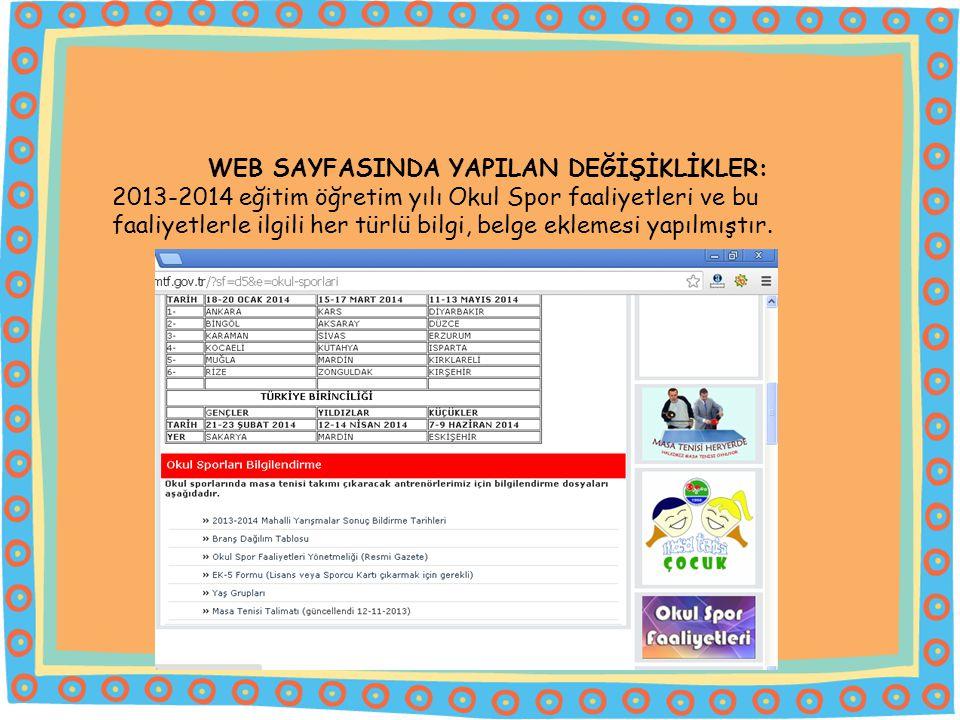 WEB SAYFASINDA YAPILAN DEĞİŞİKLİKLER: 2013-2014 eğitim öğretim yılı Okul Spor faaliyetleri ve bu faaliyetlerle ilgili her türlü bilgi, belge eklemesi yapılmıştır.