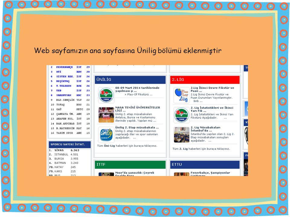 Web sayfamızın ana sayfasına Ünilig bölümü eklenmiştir