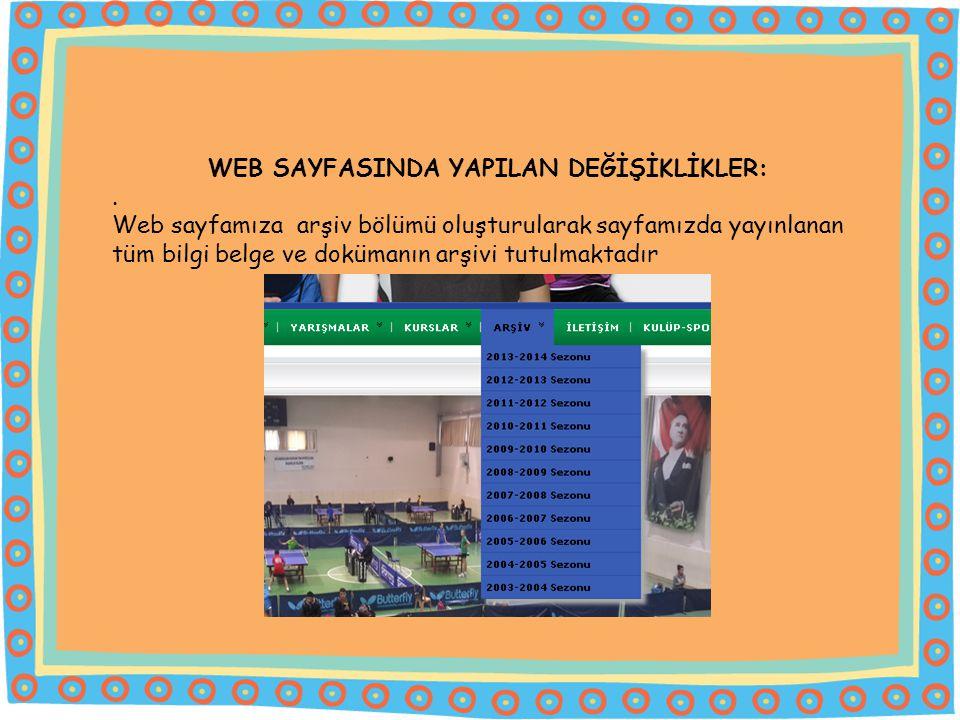 WEB SAYFASINDA YAPILAN DEĞİŞİKLİKLER:.