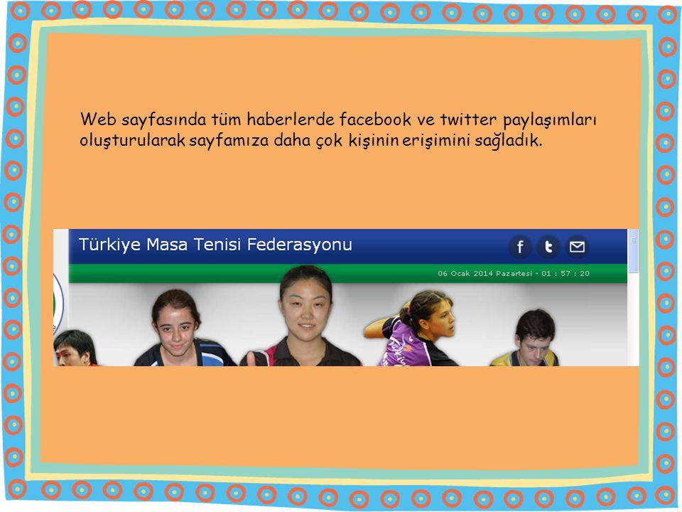 Web sayfasında tüm haberlerde facebook ve twitter paylaşımları oluşturularak sayfamıza daha çok kişinin erişimini sağladık.
