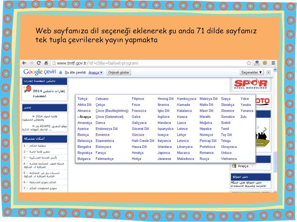 Web sayfamıza dil seçeneği eklenerek şu anda 71 dilde sayfamız tek tuşla çevrilerek yayın yapmakta