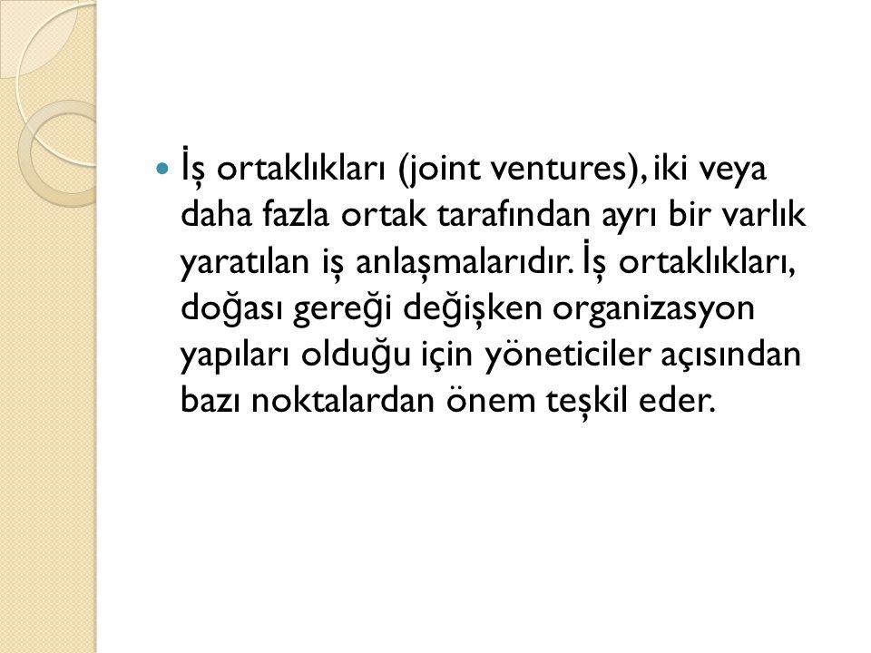 İ ş ortaklıkları (joint ventures), iki veya daha fazla ortak tarafından ayrı bir varlık yaratılan iş anlaşmalarıdır.