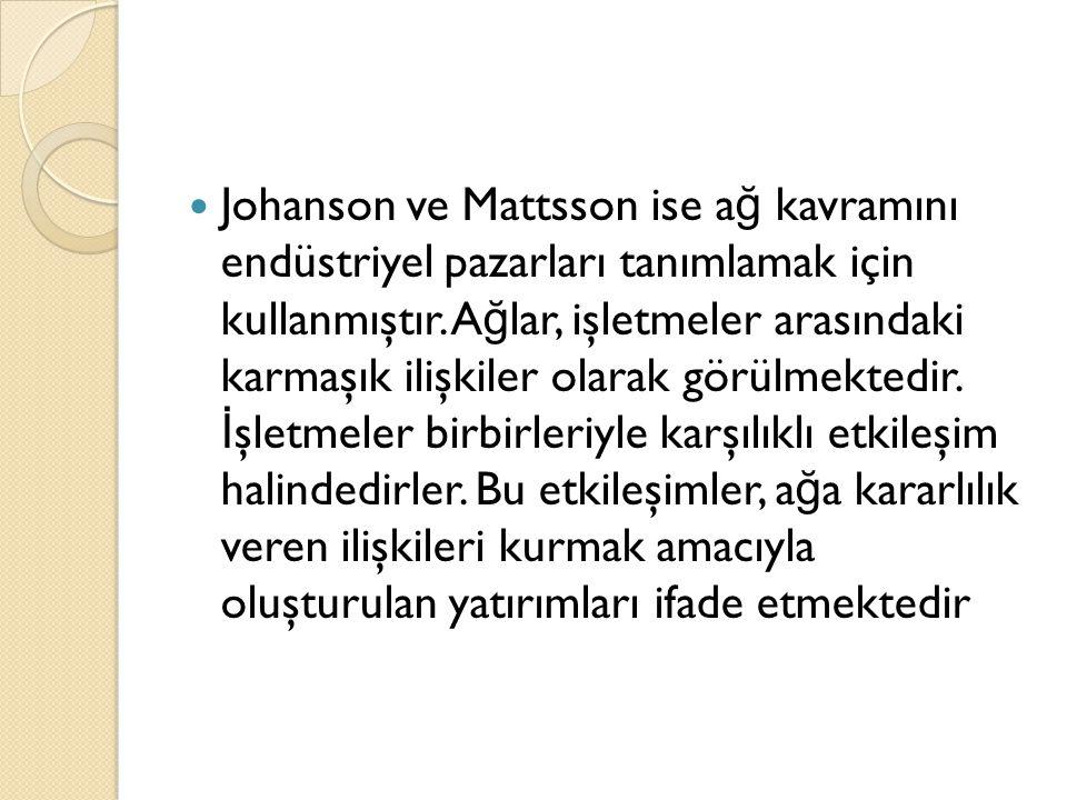 Johanson ve Mattsson ise a ğ kavramını endüstriyel pazarları tanımlamak için kullanmıştır. A ğ lar, işletmeler arasındaki karmaşık ilişkiler olarak gö