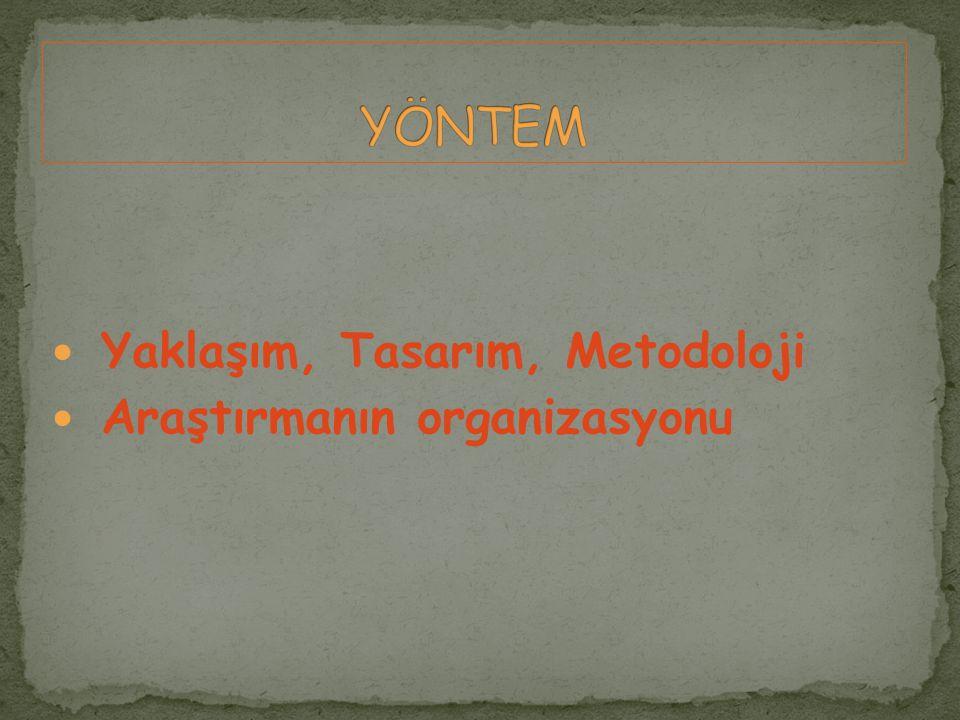 Yaklaşım, Tasarım, Metodoloji Araştırmanın organizasyonu