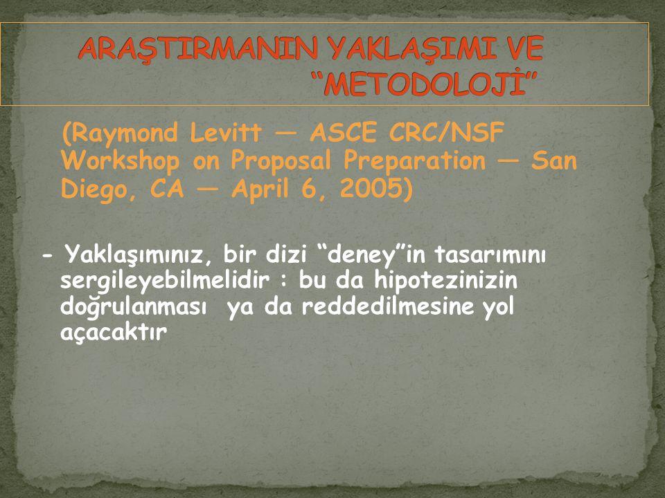 (Raymond Levitt — ASCE CRC/NSF Workshop on Proposal Preparation — San Diego, CA — April 6, 2005) - Yaklaşımınız, bir dizi deney in tasarımını sergileyebilmelidir : bu da hipotezinizin doğrulanması ya da reddedilmesine yol açacaktır