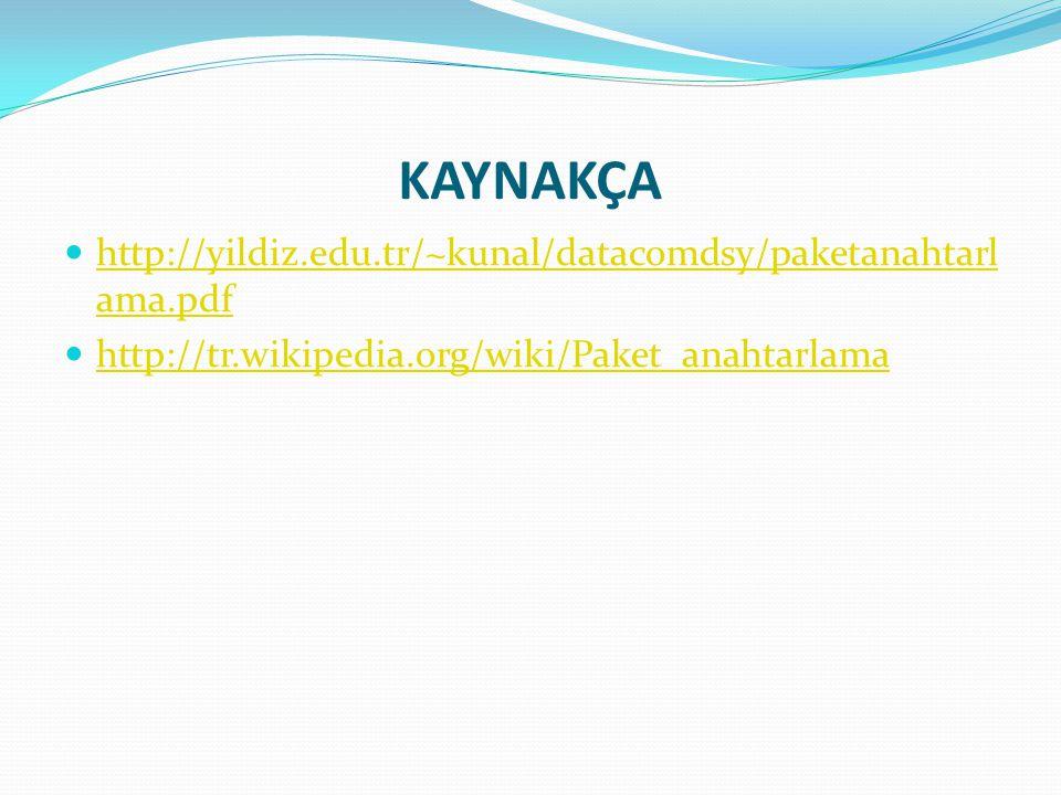 KAYNAKÇA http://yildiz.edu.tr/~kunal/datacomdsy/paketanahtarl ama.pdf http://yildiz.edu.tr/~kunal/datacomdsy/paketanahtarl ama.pdf http://tr.wikipedia