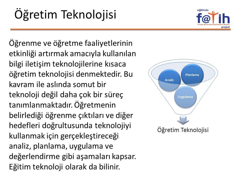 Öğretim Teknolojisi Öğrenme ve öğretme faaliyetlerinin etkinliği artırmak amacıyla kullanılan bilgi iletişim teknolojilerine kısaca öğretim teknolojisi denmektedir.