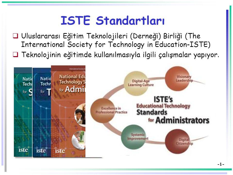 -1- ISTE Standartları  Uluslararası Eğitim Teknolojileri (Derneği) Birliği (The International Society for Technology in Education-ISTE)  Teknolojinin eğitimde kullanılmasıyla ilgili çalışmalar yapıyor.
