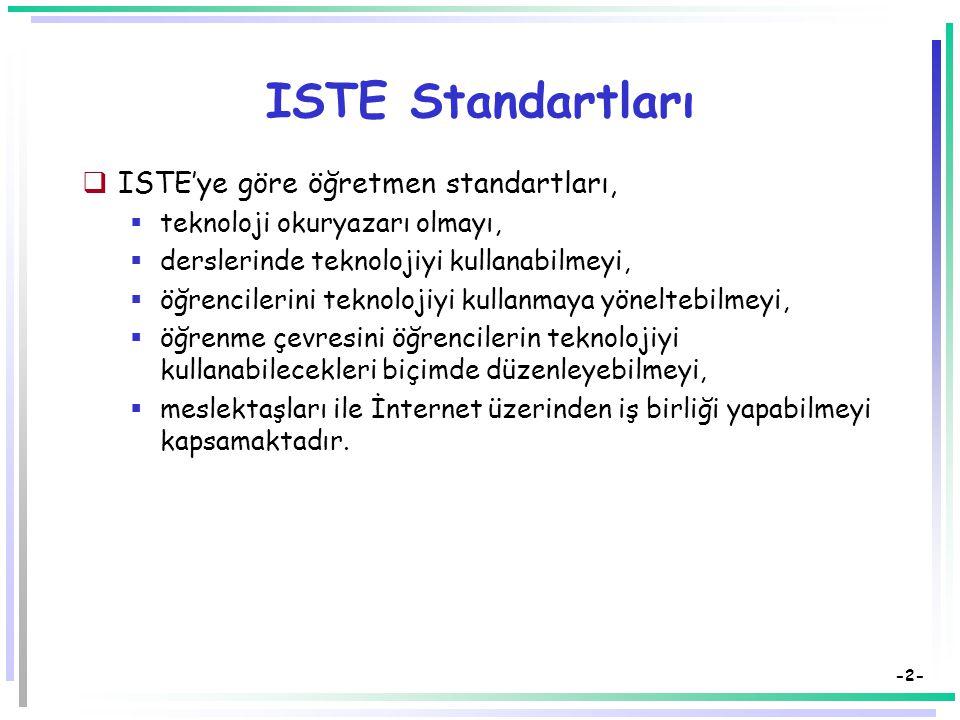 -2- ISTE Standartları  ISTE'ye göre öğretmen standartları,  teknoloji okuryazarı olmayı,  derslerinde teknolojiyi kullanabilmeyi,  öğrencilerini teknolojiyi kullanmaya yöneltebilmeyi,  öğrenme çevresini öğrencilerin teknolojiyi kullanabilecekleri biçimde düzenleyebilmeyi,  meslektaşları ile İnternet üzerinden iş birliği yapabilmeyi kapsamaktadır.