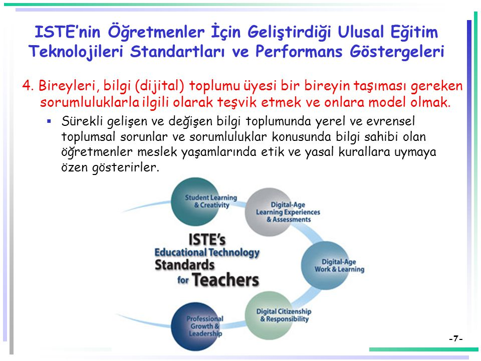 -7- ISTE'nin Öğretmenler İçin Geliştirdiği Ulusal Eğitim Teknolojileri Standartları ve Performans Göstergeleri 4.