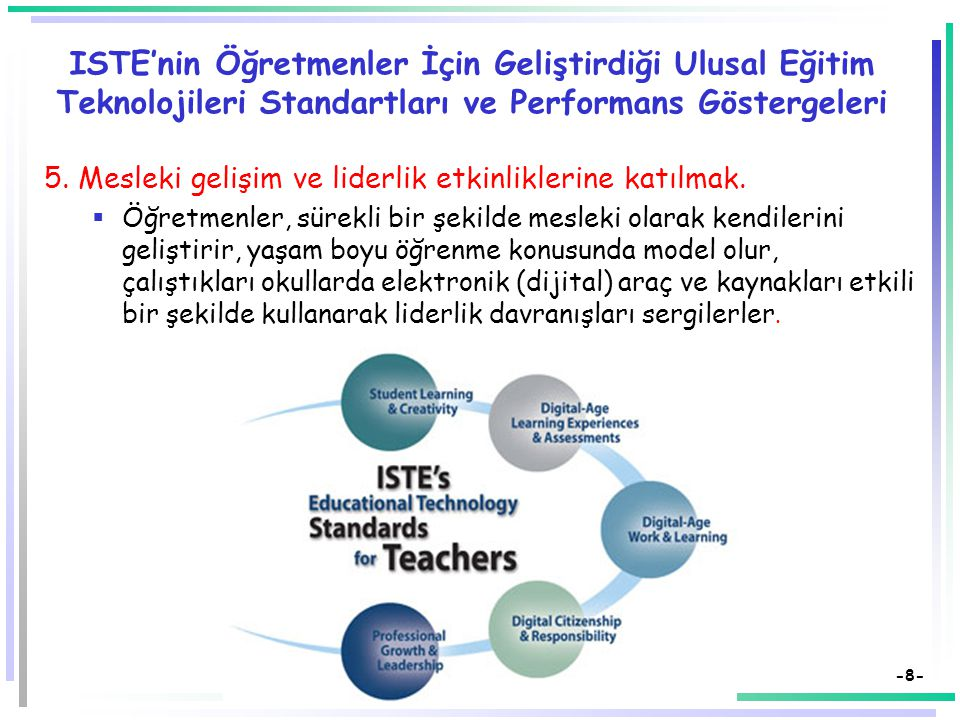 -8- ISTE'nin Öğretmenler İçin Geliştirdiği Ulusal Eğitim Teknolojileri Standartları ve Performans Göstergeleri 5.