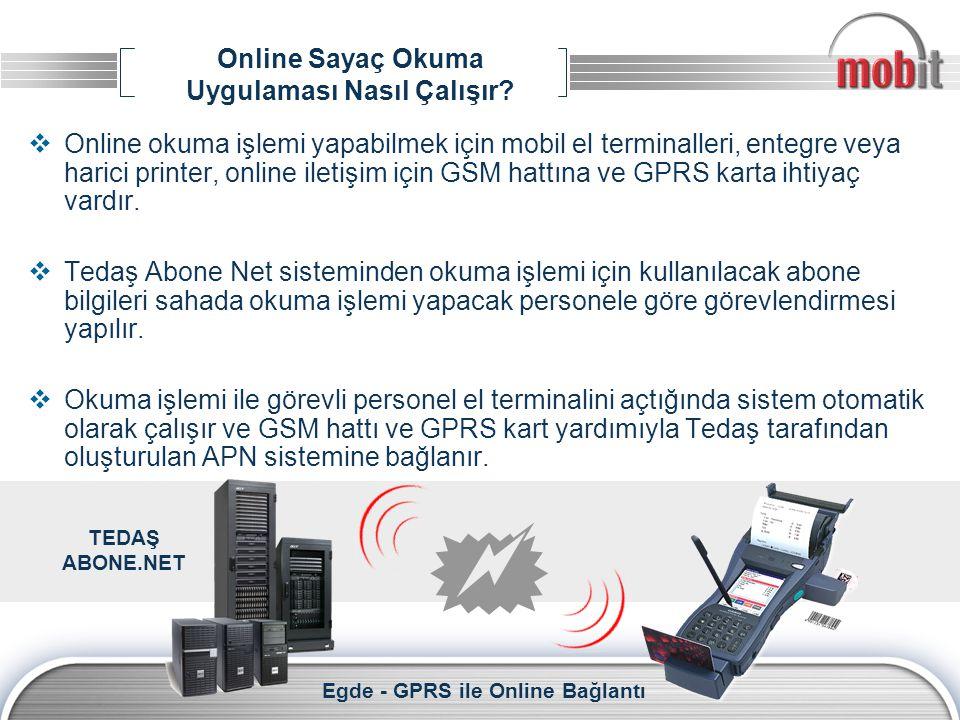 Online Sayaç Okuma Uygulaması Nasıl Çalışır?  Online okuma işlemi yapabilmek için mobil el terminalleri, entegre veya harici printer, online iletişim