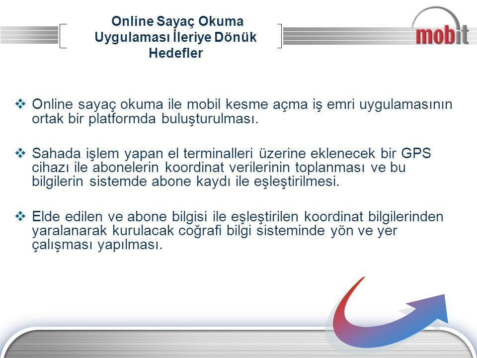 Online Sayaç Okuma Uygulaması İleriye Dönük Hedefler  Online sayaç okuma ile mobil kesme açma iş emri uygulamasının ortak bir platformda buluşturulma