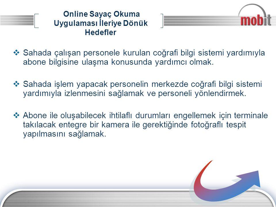 Online Sayaç Okuma Uygulaması İleriye Dönük Hedefler  Sahada çalışan personele kurulan coğrafi bilgi sistemi yardımıyla abone bilgisine ulaşma konusu