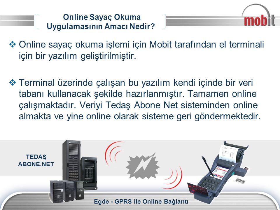 Online Sayaç Okuma Uygulamasının Amacı Nedir?  Online sayaç okuma işlemi için Mobit tarafından el terminali için bir yazılım geliştirilmiştir.  Term