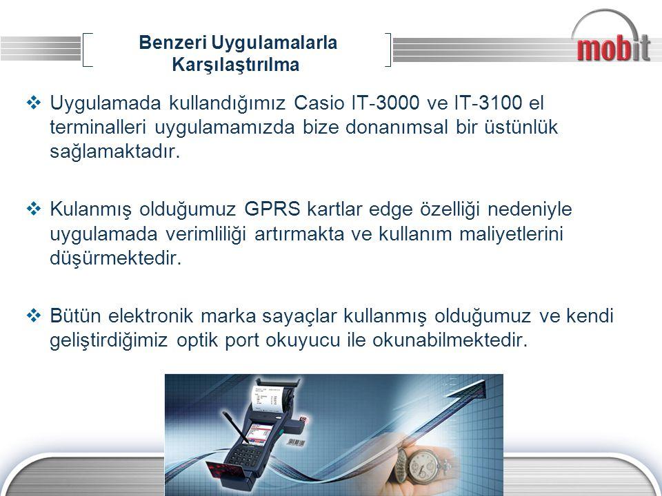 Benzeri Uygulamalarla Karşılaştırılma  Uygulamada kullandığımız Casio IT-3000 ve IT-3100 el terminalleri uygulamamızda bize donanımsal bir üstünlük s