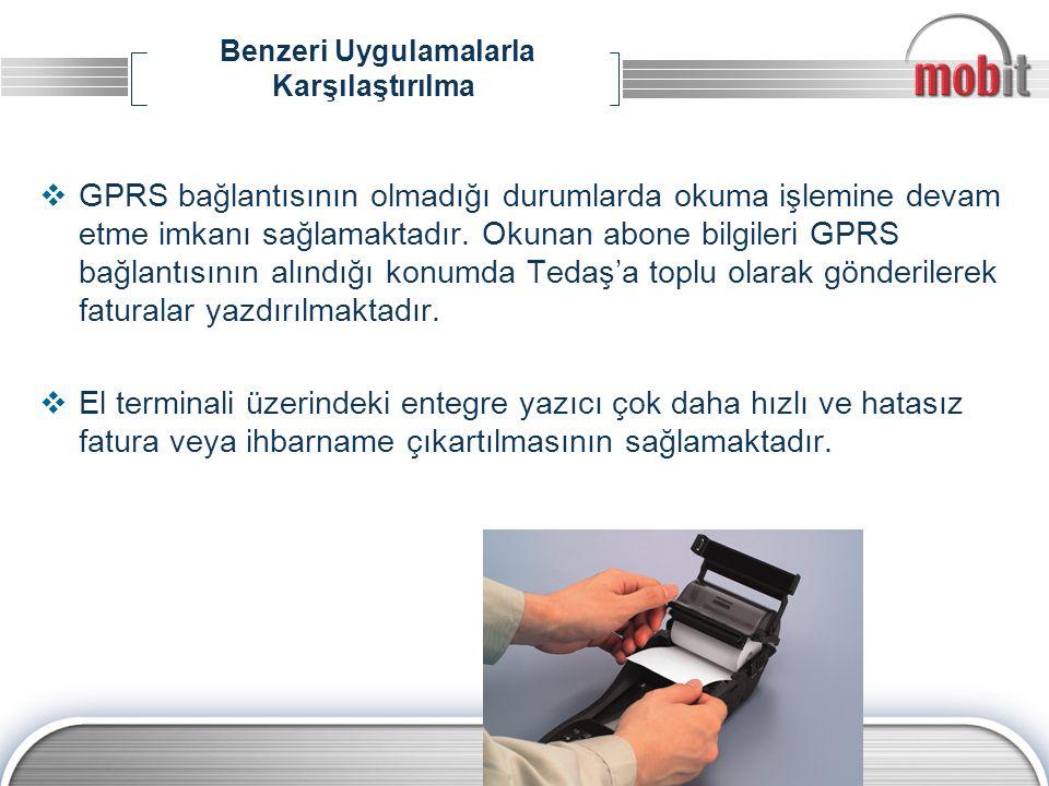 Benzeri Uygulamalarla Karşılaştırılma  GPRS bağlantısının olmadığı durumlarda okuma işlemine devam etme imkanı sağlamaktadır. Okunan abone bilgileri